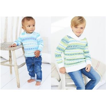 Stylecraft #9634 Sweater & Hoodie in Wondersoft Prints DK