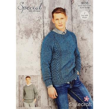 Stylecraft Pattern #9658 Men's Aran Sweaters