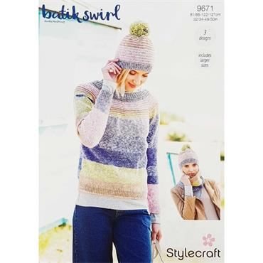 Stylecraft Pattern #9671 Sweater, Snood and Hat in Batik Swirl DK