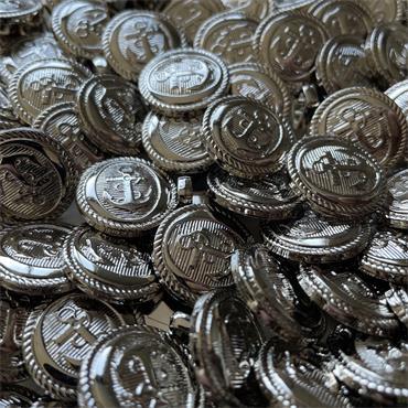 Silver Anchor Button (18mm) Size 28