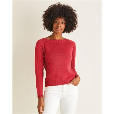 Booklet #10112 Wide Neck Sweater with Lace Panels in Cotton DK