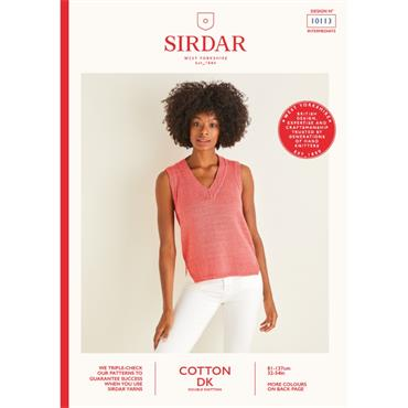 Booklet #10113 Ladies Vest Knitted in Cotton DK