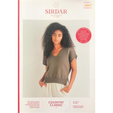 Sirdar Booklet #10241 V Neck Sweater in Cotton 4ply