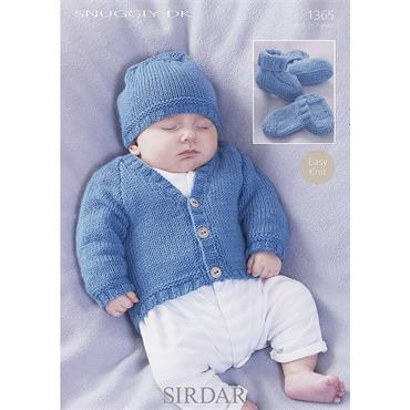 Sirdar Snuggly Pattern #1365 Cardigan, Hat, Bootees & Mittens in Snuggly DK