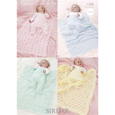 Sirdar Crochet Pattern #1368 Blankets & Shawl in Snuggly 4 Ply