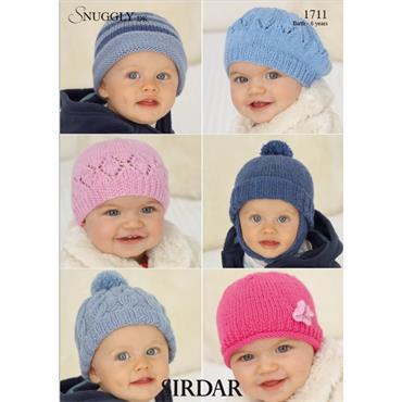 Sirdar Pattern #1711 Hats in Snuggly DK