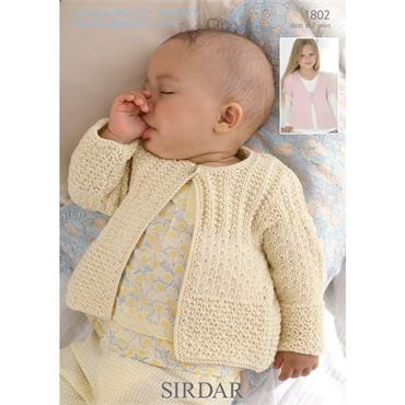 Pattern #1802 Baby Cardigans Knitted in Snuggly Baby Bamboo DK