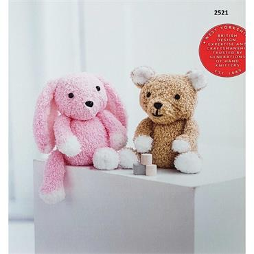 Sirdar Booklet #2521 Teddy Bear & Bunny Toys in Snuggly Bunny