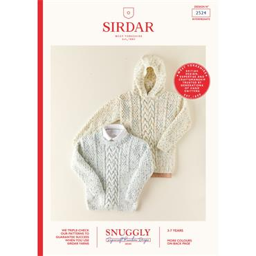 Booklet #2524 Children's Hooded Sweater and Sweater Knitted in Snuggly Supersoft Rainbowdrops Aran