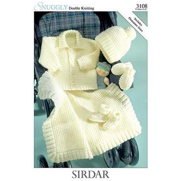 Sirdar Pattern #3108 Jacket, Hat, Mittens, Bootees & Blanket in Snuggly DK
