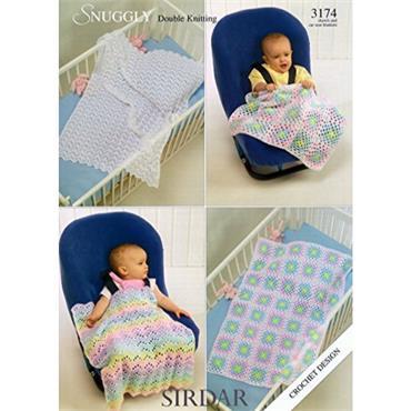 Sirdar Crochet #3174 Shawls & Car Seat Blankets in Snuggly DK