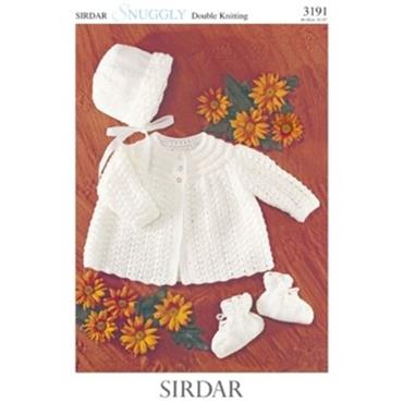 Sirdar Pattern #3191 Matinee Coat, Bonnet & Bootees in Snuggly DK