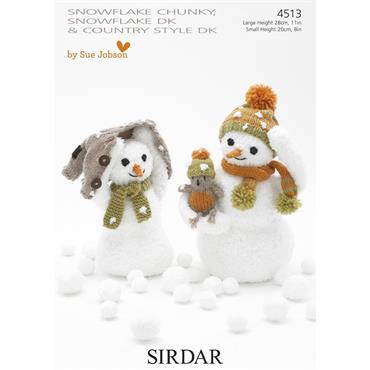 Sirdar Pattern #4513 Snowmen in Snowflake Chunky & DK
