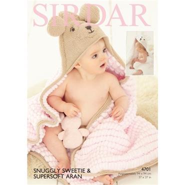 Sirdar #4701 Hooded Blanket in Sweetie & Supersoft Aran