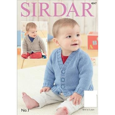 Sirdar pattern #4847 Baby Boy's & Boys Cardigans in No. 1 DK