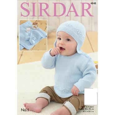 Sirdar pattern #4848 Sweater, Helmet, Bootees and Blanket in No. 1 DK