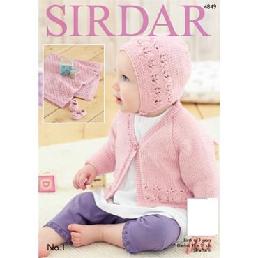 Sirdar pattern #4849 Cardigan, Bonnet, Shoes and Blanket in No. 1 DK