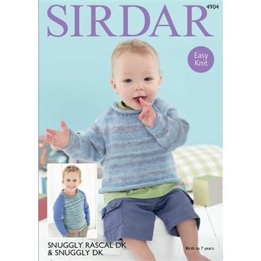 Pattern #4904 Babies & Childrens Sweaters Knitted in Snuggly Rascal DK & Snuggly DK