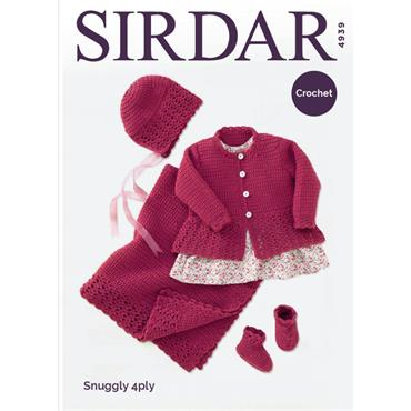 Sirdar Crochet #4939 Coat, Hat, Bootees & Blanket in Snuggly 4ply