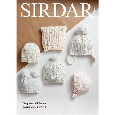 Sirdar Pattern #5181 Hats in Supersoft Aran Rainbow Drops