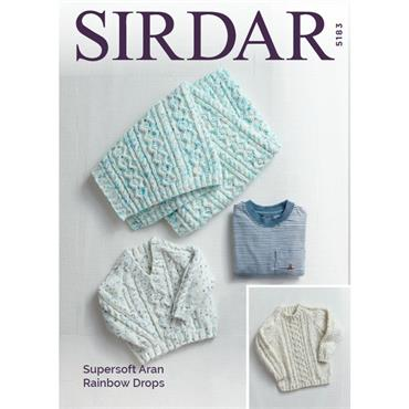 Pattern #5183 Sweaters and Blanket Knitted in Supersoft Aran Rainbow Drops