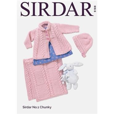 Sirdar #5188 Matinee Coat, Bonnet & Blanket in Sirdar No.1 Chunky