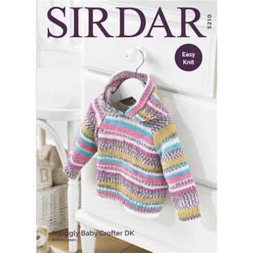 Sirdar Pattern #5210 Hooded Sweater in Baby Crofter DK