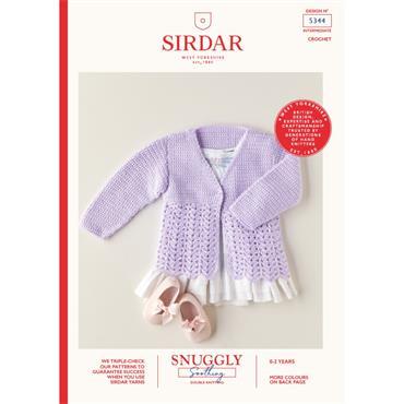 Booklet #5344 Babies Crochet Cardigan in Snuggly Soothing DK