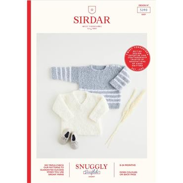 Sirdar Booklet #5393 Baby/Childrens V & Round Neck Sweaters Knitted in Snuggly Snowflake Chunky