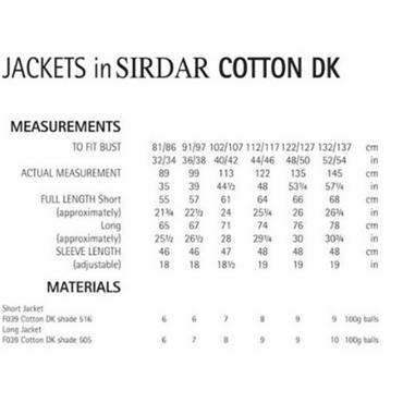 Sirdar Pattern #7071 Jacket in Cotton DK