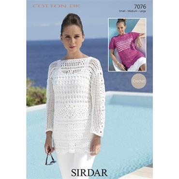 Sirdar Crochet Pattern #7076 Tunics in Cotton DK