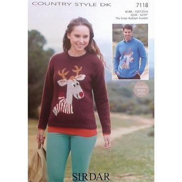 Sirdar #7118 Adults Christmas Reindeer Sweater in DK