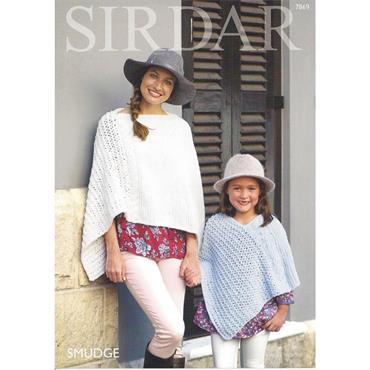 Sirdar Pattern #7869 Smudge Ponchos