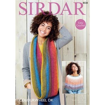 Sirdar Pattern #8028 Crochet Poncho & Snood in Colourwheel DK