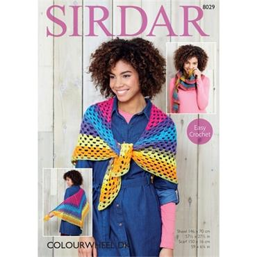 Sirdar Pattern #8029 Crochet Shawl & Scarf in Colourwheel DK
