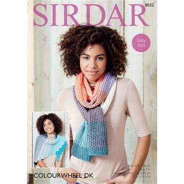 Sirdar Pattern #8032 Wrap & Scarf knit in Colourwheel DK