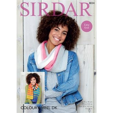 Sirdar Pattern #8034 Accessories knit in Colourwheel DK