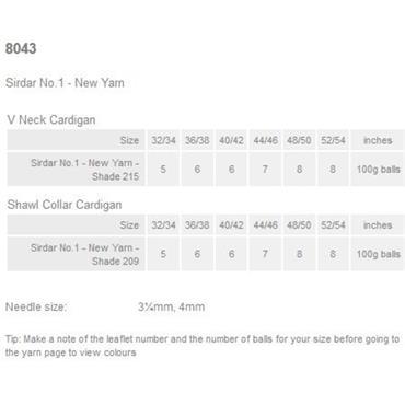 Sirdar pattern #8043 Jackets in No. 1 DK