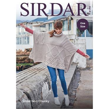 Sirdar #8179 One Size Poncho in No. 1 Chunky