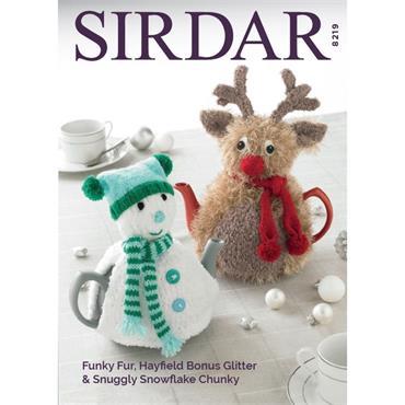 Sirdar #8219 Tea Cosies in Funky Fur, Hayfield Bonus Glitter & Snuggly Snowflake Chunky