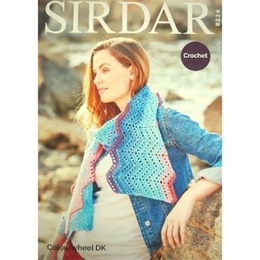 Sirdar Pattern #8224 Crochet Scarf in Colourwheel DK