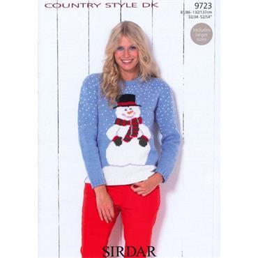 Sirdar #9723 Snowman Christmas Sweater in DK