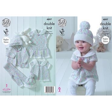 King Cole Pattern #4897 Baby Set in Cherish Dash DK