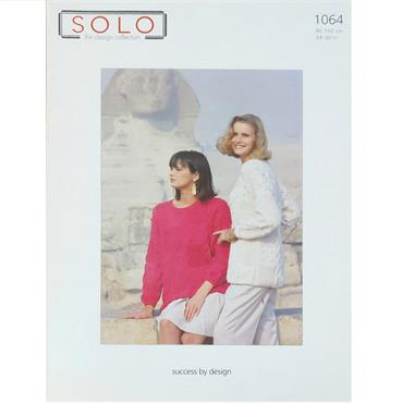 Solo Pattern #1064 Ladies Aran Panel Sweater