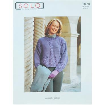 Solo Pattern #1078 Ladies Aran Sweater