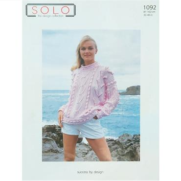 Solo Pattern #1092 Ladies Aran Sweater