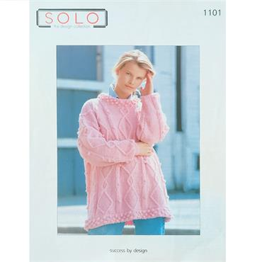 Solo Pattern #1101 Ladies Aran Sweater