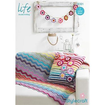 Stylecraft Pattern #9091 Crochet Blanket, Cushion Cover & Bunting in DK