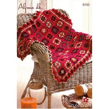 Stylecraft Pattern #9100 Crochet Granny Square Blanket in DK