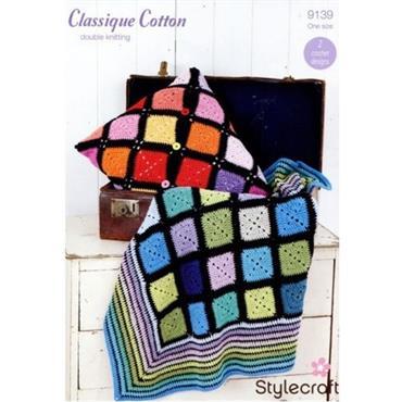 Stylecraft Pattern #9139 Crochet Throw & Cushion in DK